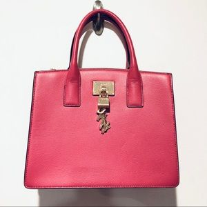 DKNY | Elissa Pink Leather Satchel with Charms